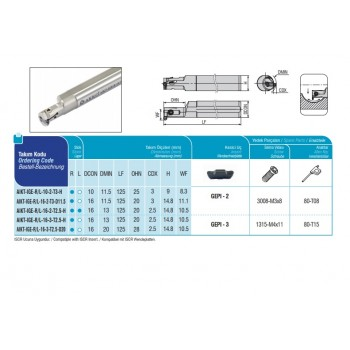 END MILLS Typ Cood AEMRC-RD12T3-D25-W25-L150-Z02